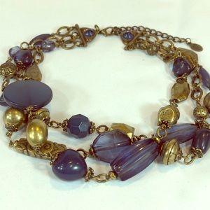 Bijoux Terner chunky navy & bronze tone necklace